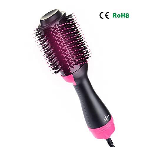 Adkwse One-Step Haartrockner, Multifunktionaler Warmluftbürste Hair Styler&Volumizer Haarglätter Negativer Ionenfön Föhn Pinsel Lockiges Haar Heißluftbürste Lockenwickler für alle Haartypen (Hitze Frei Lockenwickler)