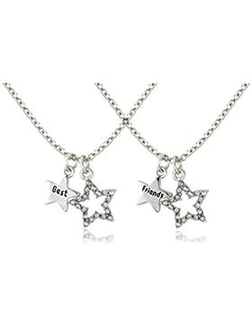 Bling Halskette Best friends, inklusive 2 Anhänger (1 Stern mit Strassbesatz, 1 Stern mit Aufschrift