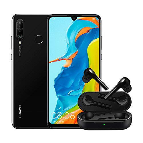 "Huawei P30 Lite (Black) Smartphone + cover trasparente, 4GB RAM, memoria 128 GB, Display 6.15"" FHD+, Tripla fotocamera posteriore da 48+8+2 MP, fotocamera anteriore 24 MP [Versione Italiana]"