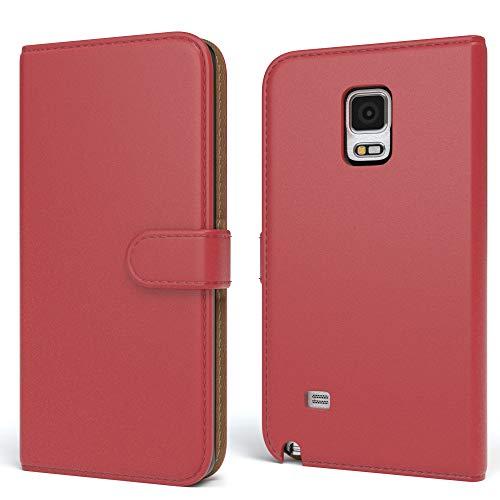 EAZY CASE Tasche für Samsung Galaxy Note 4 Schutzhülle mit Standfunktion Klapphülle im Bookstyle, Handytasche Handyhülle Flip Cover mit Magnetverschluss und Kartenfach, Kunstleder, Rot