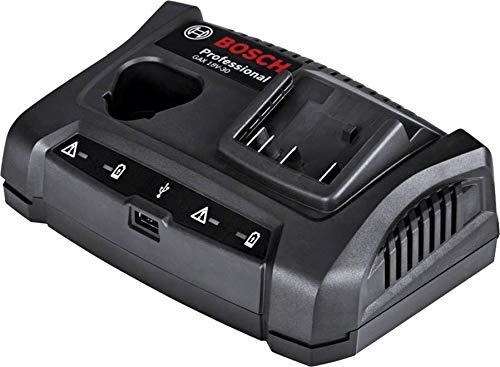 Bosch Professional 1600A011A9 1 600 A01 1A9 GAX 30 Ladeger\\x{00E4}t mit USB-Ladebuchse, Wandstativhalterung, Karton (Akkuladespannung: 10,8, Ladestrom 3,0 Ah), 18 V