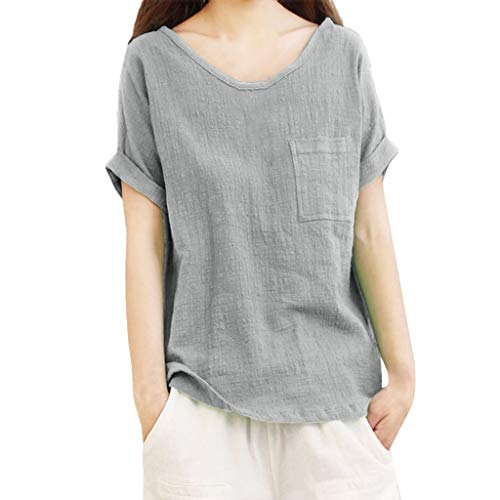 Zegeey Damen T-Shirt Einfarbig Rundhals Kurzarm Baumwolle Und Leinen Lose Sommer Bluse Shirt Mit Taschen Basic Tops Arbeit Alltagskleidung Urlaub Vintage Oberteile(Grau,EU-52/CN-4XL)