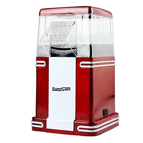 Eurosan PC Popcorn Machine, Classic Design, Hot Air, Gift Box, Red/ White