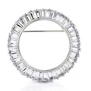 Bling Jewelry Ewigkeit Rund 5.76 CT CZ Baguette Cut Kreis des Lebens Schal Broschen & Anstecknadeln Für Damen Messing Rhodiniert