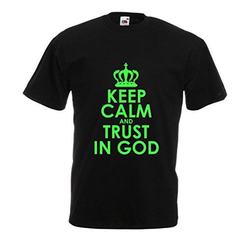 lepni.me Männer T-Shirt Vertraue Gott! Jesus Christus Liebt Dich - Ostern - Auferstehung - Geburt Christi, Christliche Kleidung (Large Schwarz Grün)