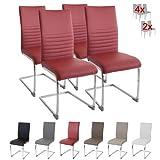 Albatros BURANO - Set di 4 sedie cantilever, eleganti, certificate SGS, imbottite, colore: Rosso