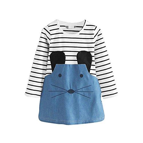Loveble BabJahr Mädchen Langarm Streifen Einteiler Knie-Lange Cartoon Maus Gedruckt Baumwolle Denim Causal Mini Kleid für 2-6 - Lange T-shirts ärmel Cartoon