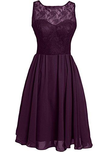 ivyd ressing Femme zaertlich col rond a ligne mousseline et pointe Party robe Lave-vaisselle robe robe du soir - Traube