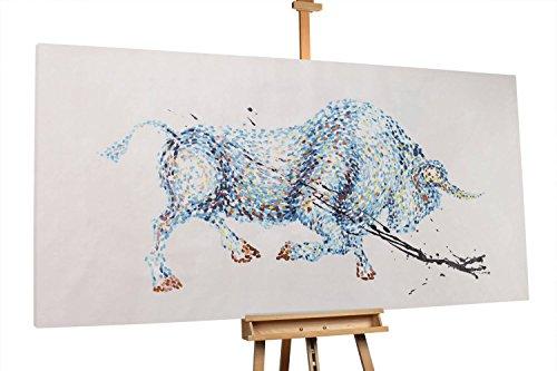 'Siegreicher Stier' in 200x100cm | Tier Stier Blau XXL | Modernes Kunst Bild