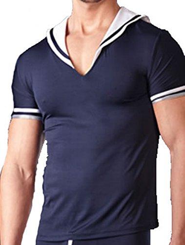 Shirt für Herren im Matrosenlook mit V-Ausschnitt breitem Kragen