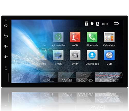 Tristan Auron BT2D7018A Autoradio mit Navi, 7\'\' Touchscreen Bildschirm, Android 9.0 GPS Navi, Bluetooth Freisprecheinrichtung, Quad Core, MirrorLink, USB/SD, OBD 2, DAB+, 2 DIN