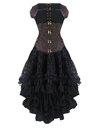 Burvogue Damen Steampunk-Korsett Korsettkleid Gothic Kostüm (L, P-20022)