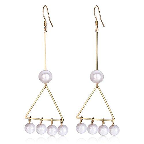 Region 10 Kostüm (Beydodo Modeschmuck Vergoldet Damen Ohrhänger Süßwasser Perle Dreieck Anhänger Ohrringe)