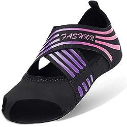 AONETIGER Calcetines Yoga Antideslizantes Mujer Niña Pilates Zapatos Zapatillas sin Dedos(Negro Morado,talla39 40)