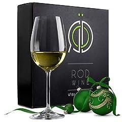 Idea Regalo - RÖD WINE Bicchieri Vino Bianco - Calici in Cristallo Infrangibili Senza Piombo - Coppa Forma U e Stelo Lungo - Ideali per Degustazione, Compleanno, Anniversario o Matrimonio - Set da 3, 355 mL