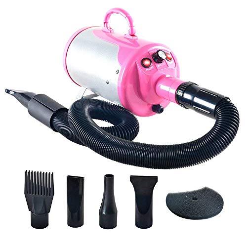 HongBao Haustier-Wasser-Gebläse, Haustier-Geschäft-Hundefön, Stiller desodorierender Haustier-Haartrockner,Pink - Kraft 3 Gebläse