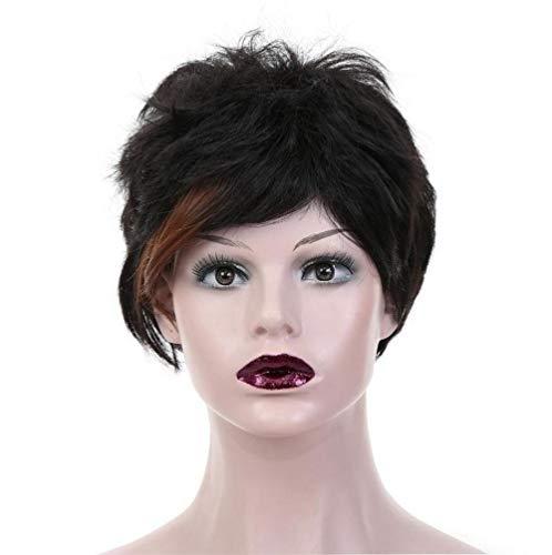Parrucche bionde corte ricce ombre ricci radice scura onda nera capelli sintetici per donne cosplay uso quotidiano xk&cq