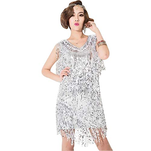 KINLOU Damen Mode Tanzkleider - Ärmellose Pailletten Quaste Latin Jazz Dance Kostüme, - Latin Jazz Dance Kostüm