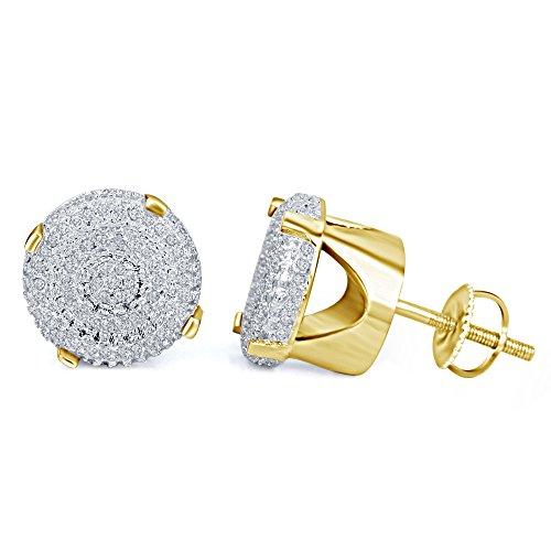 lilu Bijoux Femmes de froufrous Blanc Diamant Véritable Argent Sterling 925Boucles d'oreilles clous ronds à arrière à vis 14k Gold Plated