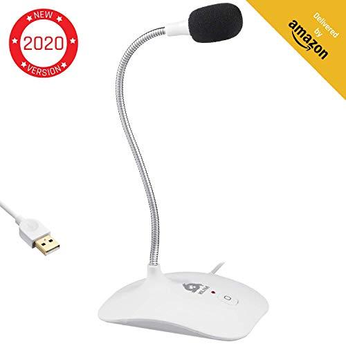 KLIM Talk - USB Standmikrofon für Mac und PC - Kompatibel mit Allen Computermodellen - Professioneller Desktop-Mikrofon - Hohe Klangqualität - Weiß [ Neue 2020 Version ]