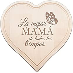 """Tabla de cortar con grabado – """"La mejor mamá de todos los tiempos"""" – Regalo ideal para el Día de la Madre"""