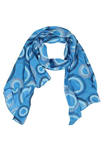 Zwillingsherz Seiden-Tuch Damen mit Muster - Made in Italy - Eleganter Sommer-schal für Frauen - Hochwertiges Seidentuch/Seidenschal - Halstuch und Chiffon-Stola Dezent Stilvoll - Blau
