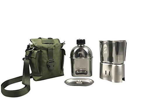 Jolmo Lander US Militär komplettes Kochset Edelstahl US Feldflasche Set,mit Feldflasche1.2L,Becher 0.8L, Kocher,Hülle (Olive drab)