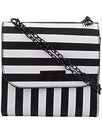 ESBEDA Black & White Striped PU Synthetic Slingbag For Women