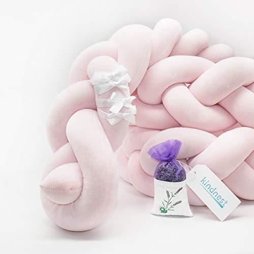 Bettumrandung Lavendel SET Kinderbett Baby Nestchen 2m Krippe Weben Geflochten Stoßfänger Kopfschutz Bettausstattung Dekoration für Babybett Babywiege (Pink, 2m)