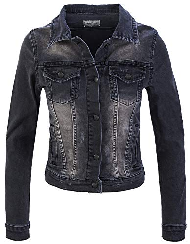 Jean-rock (Rock Creek Damen Jeans Jacke Übergangs Jacke Denim Blouson Stretch Kurz Classic Jeansjacken Urban Stonewash D-401 Anthrazit XL)