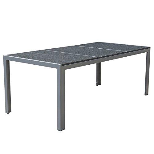 Granit Tischplatte Gartentisch - Gartenmöbel Outdoor Esstisch - Jalano Granittisch poliert 200 x 95 cm Granitplatte in verschiedenen Ausführungen - Höhe 75 cm (hell poliert)