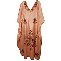 Women Maxi Caftan Dress Silk Embroidered Peach Lounge Kimono Kaftan One Size