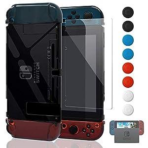 Fyoung Dockable Schutzhülle für Nintendo Switch und Joy Cons mit transparentem Displayschutz
