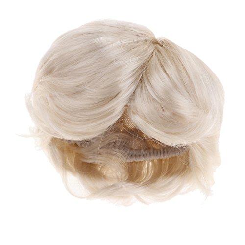 MagiDeal Modische Puppen Perücke lockigen Kurzes Haarteil aus Künstliches Mohair, Perfekt Für 1/4 Bjd Dollfie DIY Zubehör - Licht ()