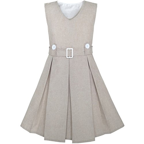 Mädchen Kleid Beige Taste Zurück Schule Uniform Gefaltet Saum Gr. 122 (Mädchen Kleidung Zu Zurück Schule)