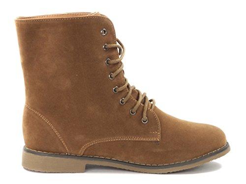 Damen Stiefelette Chukka Boots Wildleder Optik Q33-B Camel