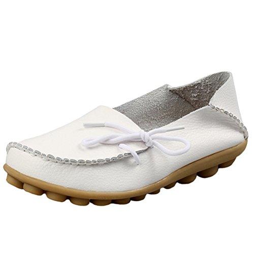 Vogstyle Damen Casual Slipper Flatschuhe Low-top Schuhe Erbsenschuhe Art 1 Weiß 41