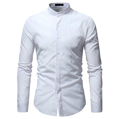 Camicia uomo landfox slim fit camicia da uomo maglietta a maniche lunghe casual da uomo con bottoni eleganti di colore puro camicia uomo bianca slim fit camicie casual