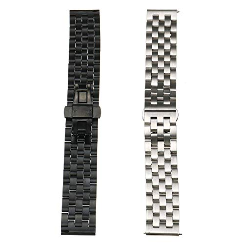 K8U156 @FATO 22mm Replacement Metal Wristband Watch Band Strap Bracelet for Samsung Gear S3 (Metal Black 22mm Mesh Band Watch)