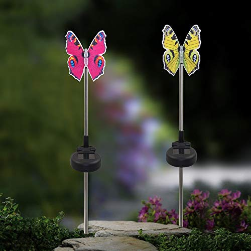 Wencaimd Gartenbedarf Garten Solarleuchten Outdoor Stake Light Multi Farbwechsel LED Gartenleuchten Fiber Optic Butterfly Dekorative Powered Stake Light zum Draußen Hauptküche (Size : 3)
