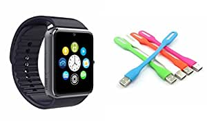 MIRZA Smart Watch & USB Light for LENOVO a516(USB Light & GT08 Smart Watch Phone with Camera & SIM Card Support Hot Fashion New Arrival Best Selling Premium Quality Lowest Price with Apps like Facebook,Whatsapp, Twitter, Sports, Health, Pedometer, Sedentary Remind,Compatible with Android iOS Mobile Tablet-Assorted Color)
