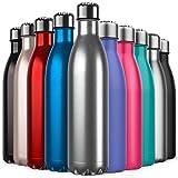 BICASLOVE Bottiglia Termica, Bottiglia per Vuoto in Acciaio Inossidabile,Design a Doppia Parete, Bocca Standard, per Corsa, Palestra, Yoga, Ciclismo [750ML Acciaio Inossidabile]