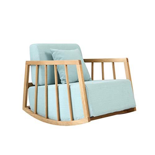 HYYTY-Y Einzelner Sofa-Schaukelstuhl, Festes Holz Mit Kissen Entfernbarer Reinigungs-Terrassen-Stuhl 606-YY (Color : Green) -