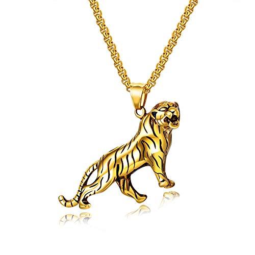SXSHYUJE Geschenk Halskette Titan Stahl Schmuck Halsanhänger mit Kette (55cm) Hochwertiger Halsschmuck Poliert Anhänger, für Herren Damen Geschenke Halsketten, Golden