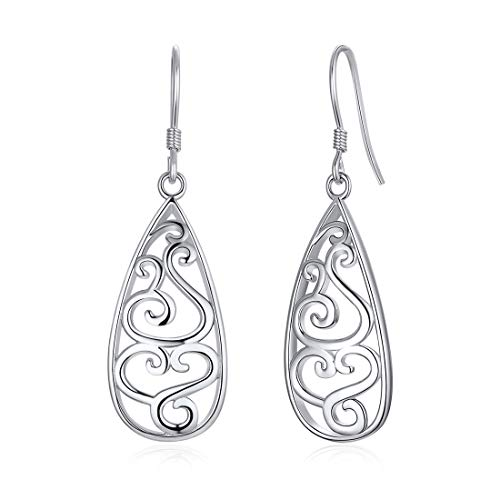 8409f3e72e11b Teardrop Earrings Irish Celtic Knot Jewelry 925 Sterling Silver Water Drop  Dangle Earrings For Sensitive Ears Women Girls Bridesmaid Gifts