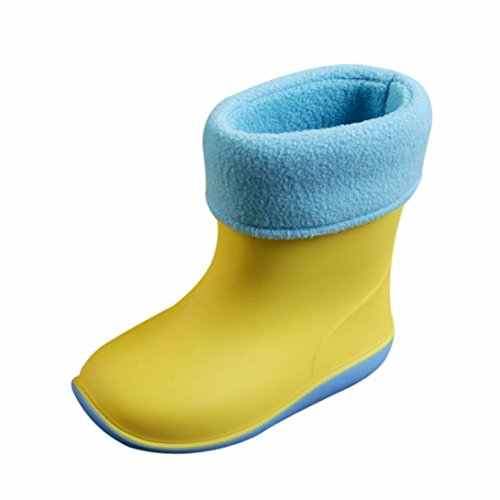 Huhua Kids Wellies, Plus Velour Waterproof Child Rubber Boys Girls Solid Color Rain Boots Kids Children Rain Shoes for 2-6 Years Old