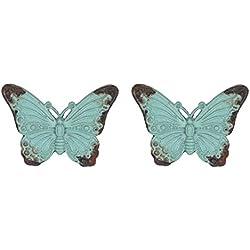 Nikky Home 2unidades) Mango de puerta Tiradores de cajón Atrae Muebles Armario Forma de mariposa Vintage estilo de metal decorativa azul