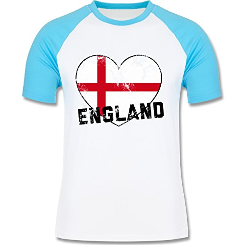 EM 2016 - Frankreich - England Herz Vintage - zweifarbiges Baseballshirt für Männer Weiß/Türkis