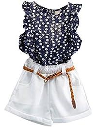 Niña Verano Camiseta sin Mangas Tops + Pantalones Cortos + Cinturón (1 Conjuntos)