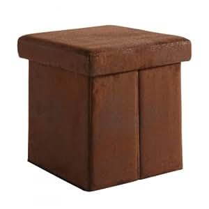 Tabouret boxy aspect cuir vieilli marron tabouret pliant tabouret pouf cube coffre de rangement for Pouf cuir vieilli